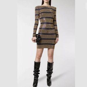 Balmain Blue Gold Crystal Stripe Open Back Dress